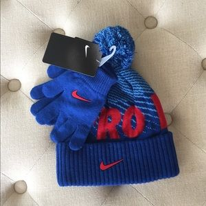 💜 Nike Blue Gloves and Hat Set